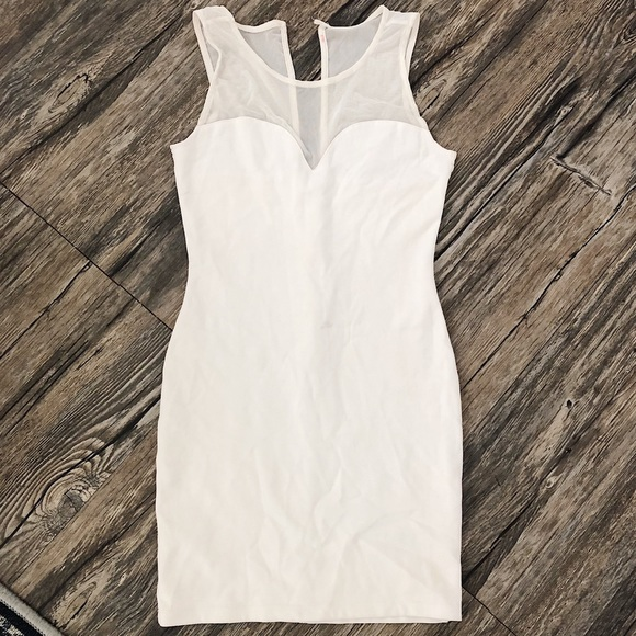 Guess Dresses & Skirts - White Mesh Detail Guess Body Con Dress Easter